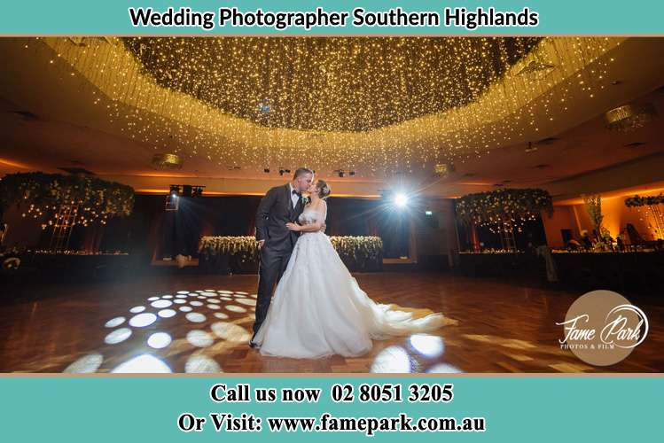 The Bride and the Groom dancing with spotlights Southern Highlands